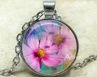 Pink flower art pendant, pink flower necklace, pink flower pendant, pink cosmo pendant, pink cosmo necklace, pink blossom, Pendant #PL134P
