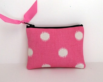 Coin Purse, small zipper pouch, padded tech bag, ear bud case, card holder, little zip pouch, zipper pouch, Pink Dot with grey lining