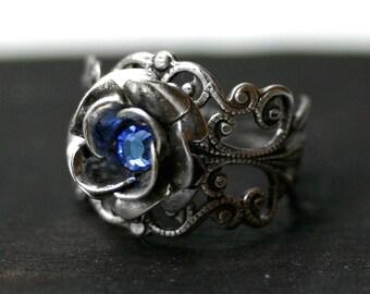 Sapphire Blue Rose Ring