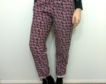 90s FLORAL GRUNGE Floral Corduroy Elastic Waist Pants Size Small