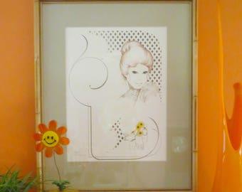 Vintage 1970s Retro Groovy MOD Girl William Tara Bamboo Wall Art Print Lattice Lace