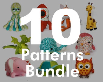 10 plushie sewing Pattern Bundle - Choose 10 DIY Fluffies patterns