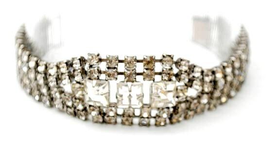 Rhinestone Bracelet   Clear Rhinestone   Bling glitz Hollywood glamour  Crystal Tennis Bracelet