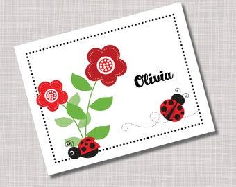 Custom Personalized Ladybug Flower Note Cards & Envelopes