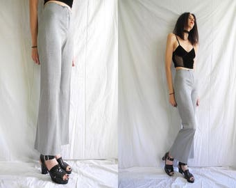 60's/70's glam/mod silver knitted metallic flared high waisted trousers/pants.