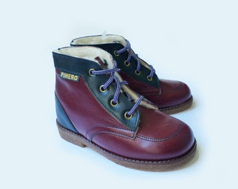 70s Leather Toddler Dark Burgundy Lined Booties Made in France EU 24-25