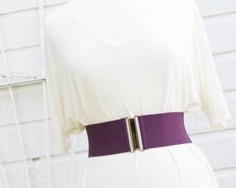 women's eggplant purple elastic waist belt - cinch belt for women