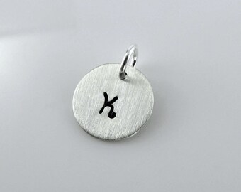 "Double Sided 1/2""  Personalized Charm Add On - Sterling Silver Round Cutout, Hand Stamped"