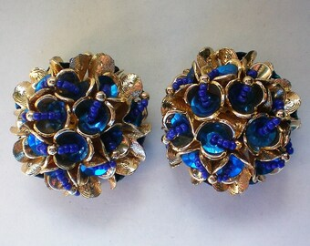 HUGE Fabulous Sequin and Bead Clip Earrings - 5908