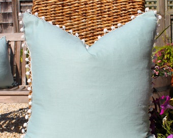 Linen Pillow Cover  in Spa with Off White PomPom Trim. PomPom Pillow Cover.