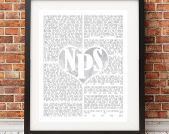 Wedding Ceremony Print Watercolour Heart Initials Custom Made 2