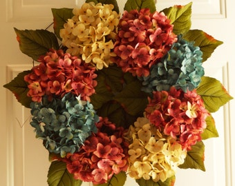 Door Wreath,Hydrangeas Shabby Outdoor Wedding Flowers, Summer Outdoor Wreaths, Hydrangea Decor