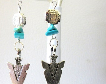 Western Earrings Arrow Head Turquoise Blue Concho