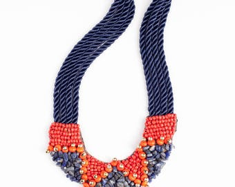 Statement colorful bib necklace