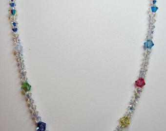 Swarovski crystal multi colors necklace for little girls
