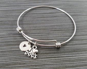 Dog Bangle - I Love Dogs Bracelet - Expandable Bangle - Dog Charm Bangle - Dog Bracelet - Initial Bracelet - Dog Owner Bracelet