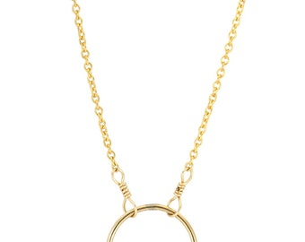 Circle Necklace, Sterling Silver, 14k Gold Fill, Geometric Necklace, Layering Necklace