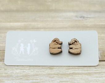 Wood Cute sloth earrings - Laser Cut Stud Earrings - Wooden earrings - Animal jewelry - Australian Seller