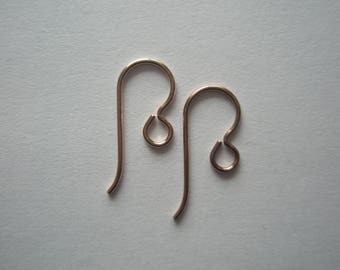 14/20 Rose Gold Filled Earwires with regular loop, TierraCast US made, 20ga - 2