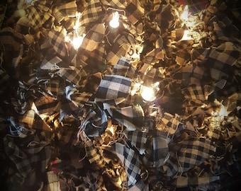 50 count brown wire light garland in black & tan homespun