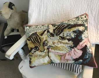 Kaffe Fasset Cats needlepoint Cushion, cats pillow, Ehrman Kaffe Fasset Cats cushion