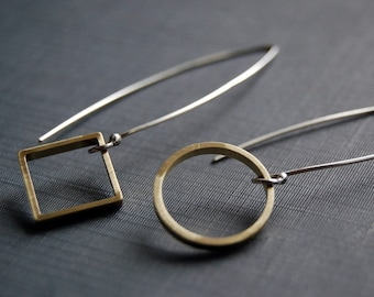READY TO SHIP. Squared circle - silver and brass Earrings.