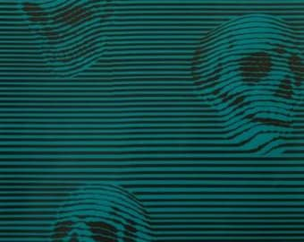 Between the Lines, Teal skulls Cotton Woven by Alexander Henry