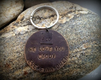 Father's Day Gift for Him - We Love you DADDY - Personalized Key Chain -  Hand Stamped - Manly Gifts - Gifts for Him - Personalized