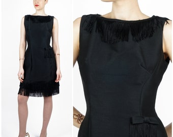 Sassy Vintage 60's Mod Black Silk Sleeveless Dress with Fringed Collar and High Side Slit and Hip Bow by Jane Stevens | Small Medium