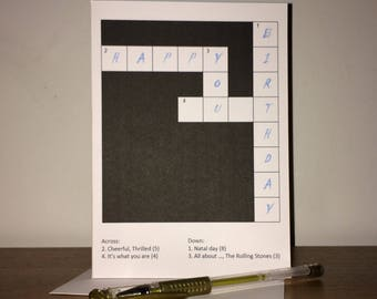 Crossword Funny, Rude and offensive Birthday Card