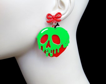 Poison Apple Earrings - with Red Bow Earring Posts - Snow White -  Acrylic Laser Cut Necklace