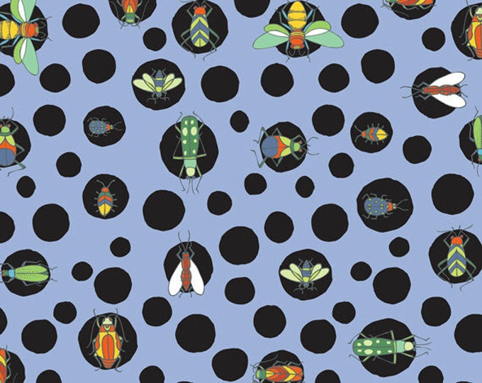 Half Yard Bugs - Bug Dots in Blue - Cotton Quilt Fabric - by Jone Hallmark for Blend Fabrics (W1842)