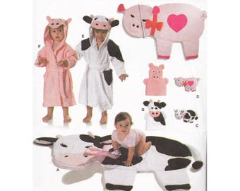 Baby Accessories Sewing Pattern Burda 9643 Cows Pigs Play Blanket Hand Puppets Stuffed Animals Bathrobe & Wash Mitt Size 9 Months to 3 Years
