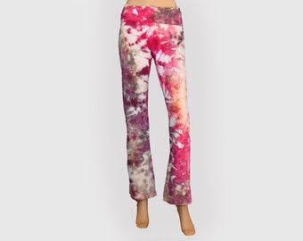 Tie Dye Yoga Pants- Pink and Purple Pants - Cotton Spandex Yoga Pants - Size Small