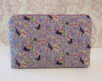 Cats and Flowers Cotton Zipper Pouch // Travel & Organizer Pouch
