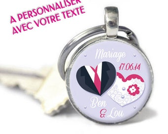 "Personalized Keychain - model ""Wedding - heart"" (customizable Keychain)"