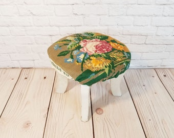 Vintage Small Needlepoint Foot Stool