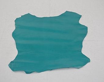 Turquoise goatskin leather