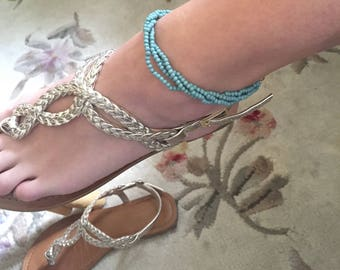 TWISTED Turquoise beaded Ankle bracelet