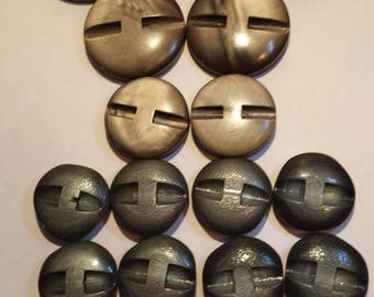 Vintage 16 Grey Plastic Decorative BUTTONS - Various Sizes for Sewing, Crafts, Jewellery, Boho Style,Classic,Notions,Steel Grey, Brown Grey,