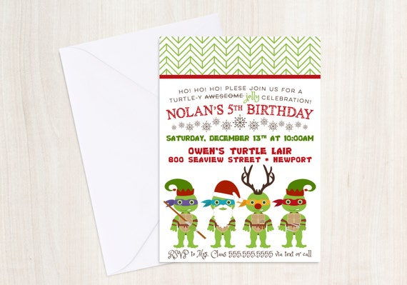 TMNT X-Mas Party Invite - TMNT Christmas Invitation -  Ninja - Party Supplies