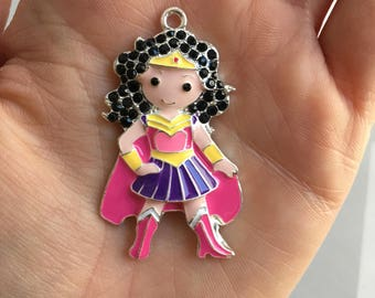 P5 Dark Hair Supergirl Pendant for Chunky Necklaces