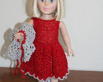 "AG red sparkly dress, sandals, shawl, undies, AG doll clothes, 18"" doll clothes, 18"" doll dress, 18 inch doll dress, AG sandals"