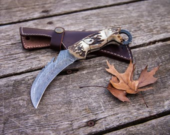 "8.5"" Inch Hand Made Forged Karambit Damascus Hunting Knife Antler (Stag) Handle Outdoor Survival With Leather Sheath"