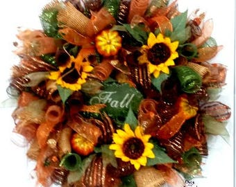 Fall wreaths for front door, Fall mesh wreaths, Sunflower wreaths, Fall wreaths, Wreaths for front door, Fall wreath for front door, Wreaths