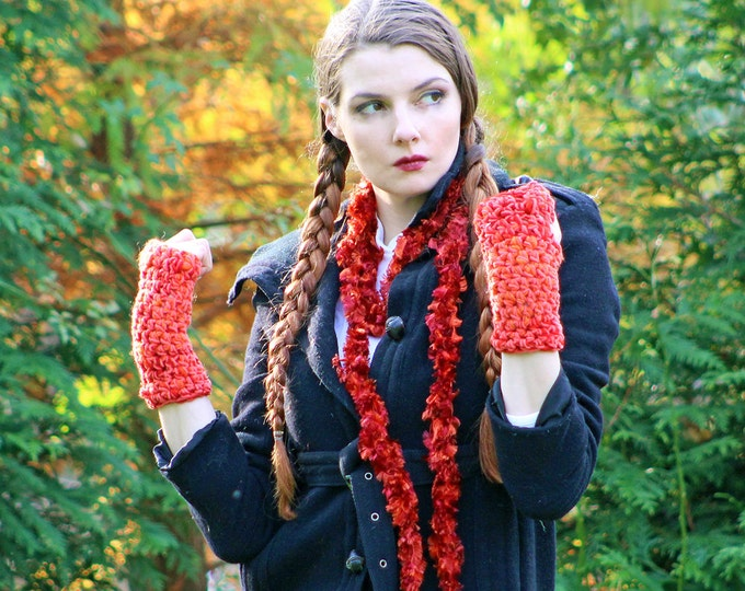 Scarf &Texting Gloves Set Soft Orange Fingerless  Long Soft Accessory Christmas  Gift for Girls, Teens or Women Reday to ship