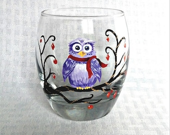 Painted Owl Glass | Cute Owl, Owl Lover Gift, Owl Christmas Gift, Winter Decor, Winter Birthday Gift, Christmas Gift, Gift for Friend
