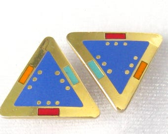"""Sale LAUREL BURCH Earrings """"For Marie"""".  Triangle Studs.  Periwinkle Blue Enamel Centers.  Red/Teal/Orange Accents.  22 k Gold Plated Metal."""