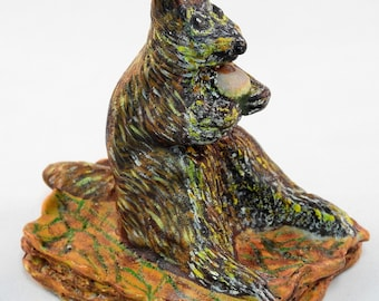 Sculpted Cute Chipmunk Eating An Acorn Sitting On Fall Leaf Pile, Handmade Rodent Ornament, Wild Animal Sculpture, Hand Painted