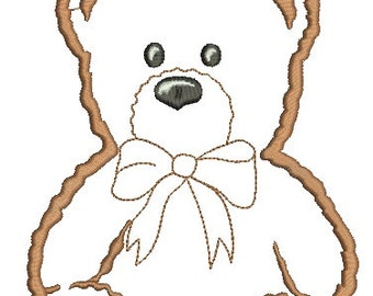 teddy bear embroidery applique, three sizes  - Machine Embroidery Design - instant download